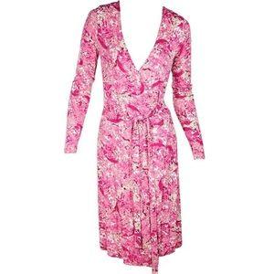 Escada Sport Pink Watercolor Printed Wrap Dress